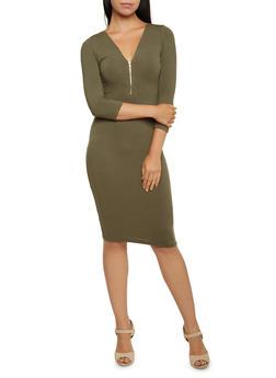 Zip Neck Midi Bodycon Dress with Three Quarter Sleeves - 3094069392491