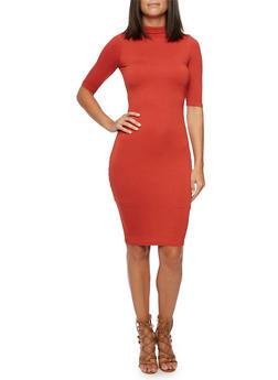 Jersey Dress with Back Keyhole Cutout - 3094069392505