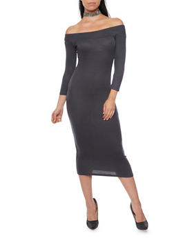 Ribbed Off the Shoulder Midi Dress - 3094069392539