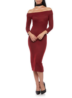 Ribbed Off the Shoulder Midi Dress - WINE/BLACK - 3094069392539