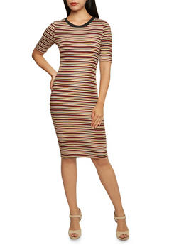 Striped Ringer Bodycon Dress with Short Sleeves - 3094069392627