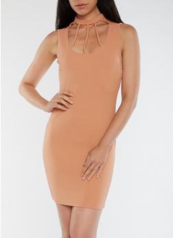 Textured Knit Choker Neck Dress - 3094069392975