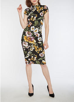 Floral Textured Knit Bodycon Dress - 3094069392990