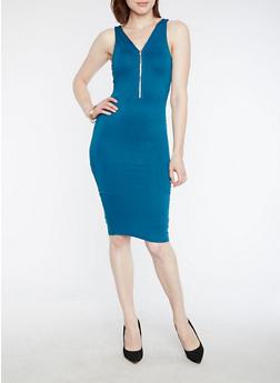 Half Zip V Neck Bodycon Dress - 3094069392991
