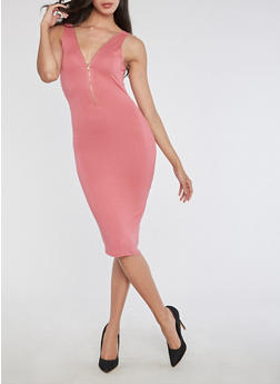 Half Zip V Neck Bodycon Dress - 3094069392991