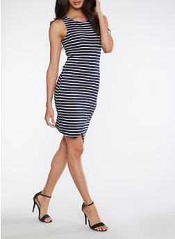 Striped Ponte Knit Dress with Envelope Hem - 3094069392992