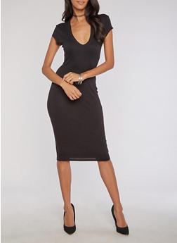 Mid Length Deep V Neck Bodycon Dress - BLACK - 3094069392999