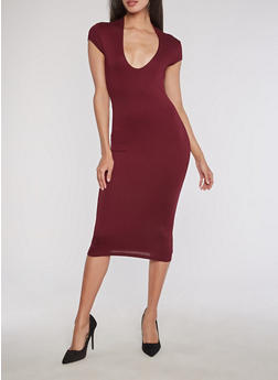 Mid Length Deep V Neck Bodycon Dress - 3094069392999