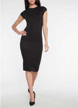 Soft Knit High Neck Bodycon Dress - BLACK - 3094069393179