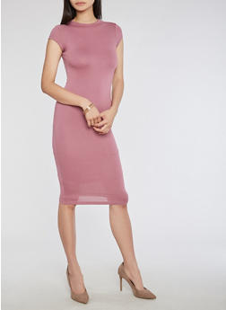 Soft Knit High Neck Bodycon Dress - 3094069393179