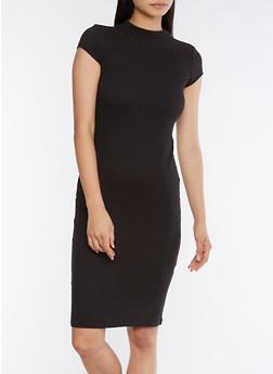 Mock Neck Bodycon Midi Dress - BLACK - 3094069393626