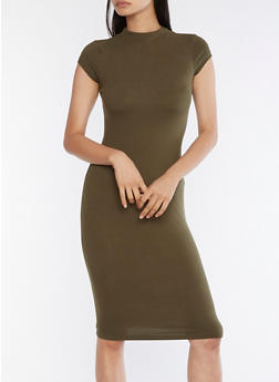 Mock Neck Bodycon Midi Dress - 3094069393626