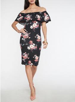 Soft Knit Floral Off the Shoulder Dress - 3094069393746