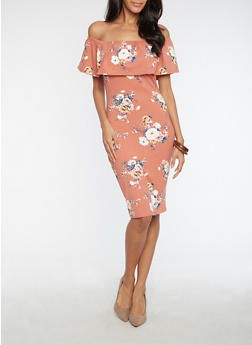 Soft Knit Floral Off the Shoulder Dress - 3094069393746