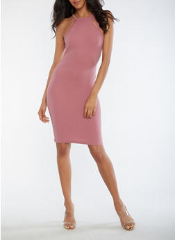 Textured Knit Racerback Bodycon Dress - 3094069393985