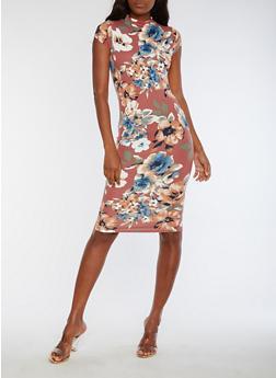 Short Sleeve Floral Print Midi Dress - 3094069394626