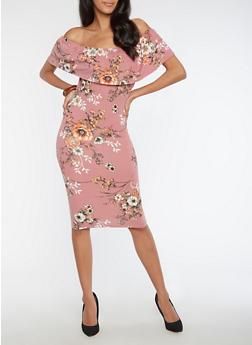 Mid Length Floral Off the Shoulder Dress - 3094069394746