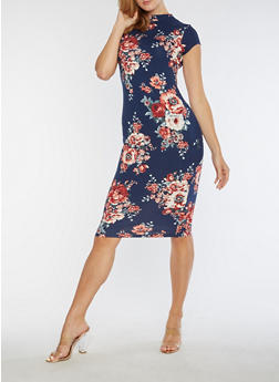 Soft Knit Floral Bodycon Dress - 3094069395626