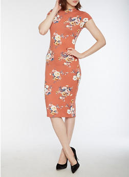 Soft Knit Floral Bodycon Dress - 3094069397626
