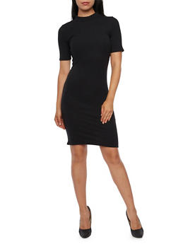 Bodycon Dress with Mock Neck and Short Sleeves - 3094073370501