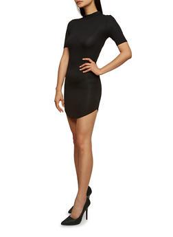 Mock Neck Mini Bodycon Dress with Short Sleeves - 3094073370502