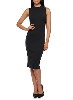 Bodycon Midi Dress in Ribbed Knit - BLACK - 3094073370506