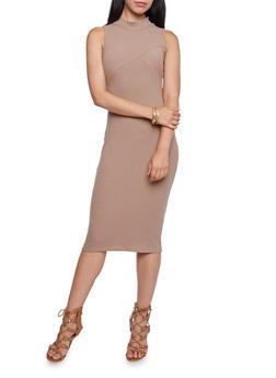 Bodycon Midi Dress in Ribbed Knit - 3094073370506