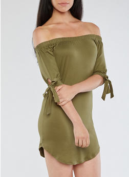 Off the Shoulder Tie Sleeve Dress - 3094073373610