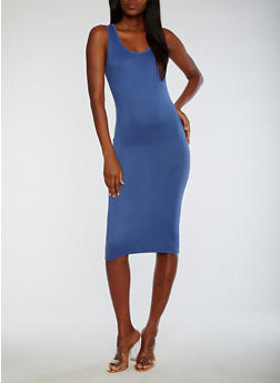 Sleeveless Solid Midi Dress - 3094073373611