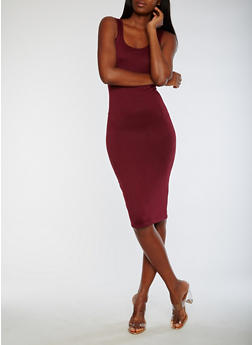 Sleeveless Solid Midi Dress - BURGUNDY - 3094073373611