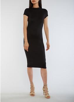 Funnel Neck Bodycon Dress - 3094073373703