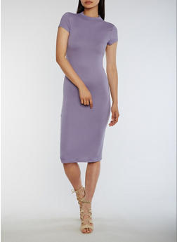 Funnel Neck Bodycon Dress - 3094073373703