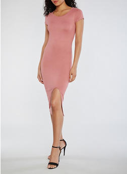 Short Sleeve Solid Bodycon Dress with Front Slit - 3094073373757
