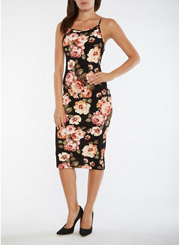 Floral Sleeveless Tank Dress - 3094074013972