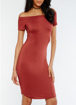 Solid Off the Shoulder Bodycon Dress - 3094074013973