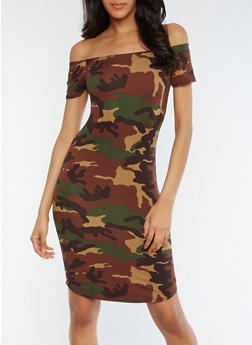 Off the Shoulder Camo Bodycon Dress - 3094074013974