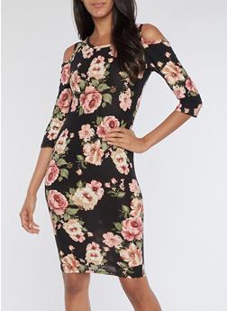 Cold Shoulder Floral Print Midi Dress - 3094074014036