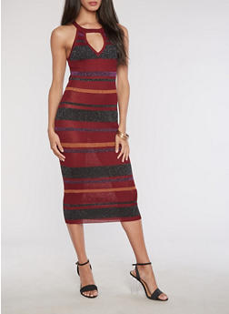 Lurex Striped Knit Tank Dress - 3096038346368