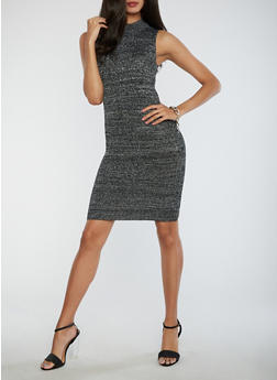 Ribbed Glitter Knit Bodycon Dress - 3096038346369