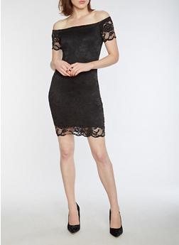 Short Sleeve Off the Shoulder Lace Dress - BLACK - 3096054268800