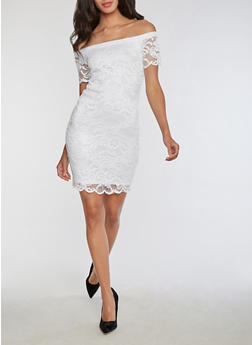 Short Sleeve Off the Shoulder Lace Dress - WHITE - 3096054268800