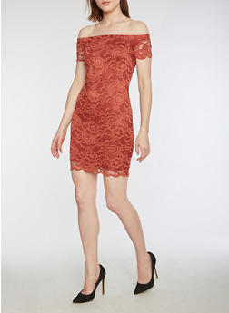 Short Sleeve Off the Shoulder Lace Dress - 3096054268800