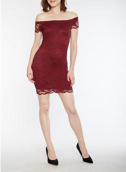 Short Sleeve Off the Shoulder Lace Dress - 3096054268800