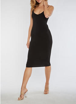 Solid Sleeveless Midi Dress - BLACK - 3096054269695