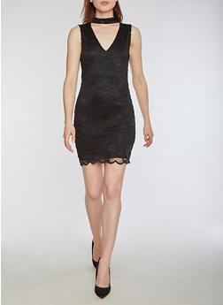 Sleeveless Lace Bodycon Dress - BLACK - 3096054269779