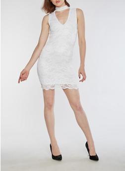Sleeveless Lace Bodycon Dress - WHITE - 3096054269779