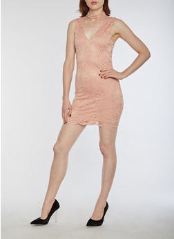 Sleeveless Lace Bodycon Dress - 3096054269779