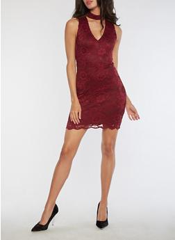 Sleeveless Lace Bodycon Dress - 3096054269779