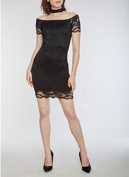 Off the Shoulder Choker Neck Lace Dress - BLACK - 3096054269789