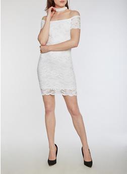 Off the Shoulder Choker Neck Lace Dress - WHITE - 3096054269789